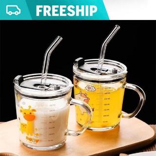 [MIỄM PHÍ SHIP] Bộ 2 Cốc thủy tinh chia vạch uống sữa cho bé cao cấp và kèm ống hút silicon nắp đậy - Cốc thủy tinh chia vạch uống sữa thumbnail