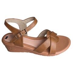Giày sandal nữ Trường Hải đế xuồng cao 5cm màu vàng da bò thật cao cấp DX749 [HÌNH ẢNH THẬT - CÓ VIDEO]