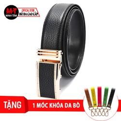 Thắt lưng nam Minh Tâm da bò 3 lớp may viền , khóa tự động tỳ , Đen or Nâu