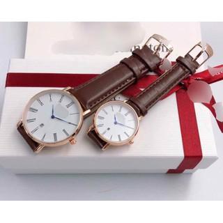 Đồng hồ đôi nam nữ đồng hồ đôi dây da cao cấp - đồng hồ dây da 111 thumbnail