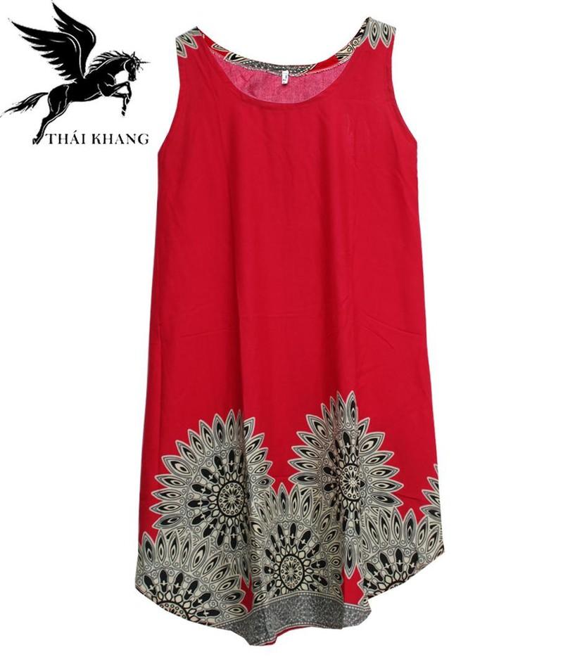 Váy Nữ Trung Niên Loại Sát Nách Vải Lanh Mặc Mát - VÁY SÁT NÁCH 8