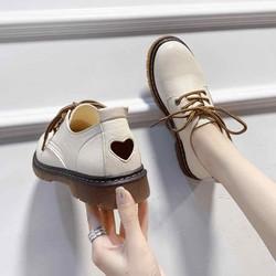Giày oxford nữ mũi tròn đế vuông 3p có gót trái tim