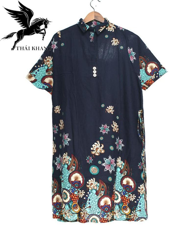Váy Nữ Trung Niên Có Tay Vải Lanh Sang Trọng - váy trung niên 5