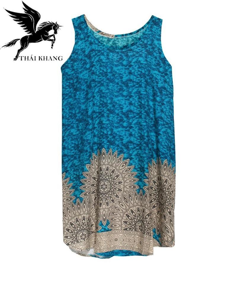 Váy Nữ Trung Niên Loại Sát Nách Vải Lanh Mặc Mát - VÁY SÁT NÁCH 5