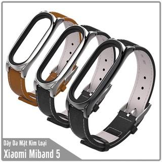 Dây thay thế cho Miband 5 Mijobs dây da mặt kim loại - MB5-DA thumbnail