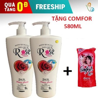 [FREESHIP-Tặng Comfor 580ml] [ Combo 2 chai ] Sữa Tắm Dê Rose 9x Cao Cấp 1200ml Chai - 2 chai Rose+ 1 comfor 580ml thumbnail