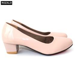 Giày cao gót trụ vuông 3P da bóng Rozalo R5613