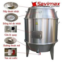 Lò nướng gà vịt inox, Lu quay gà vịt phi 60   15 móc,15 xiên, 1 bếp than
