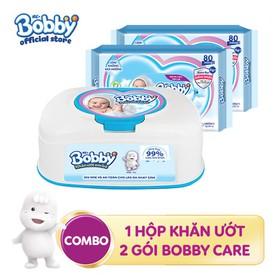 Combo 01 hộp Khăn ướt Bobby hộp tiện lợi + 2 gói Bobby Care bổ sung 80 miếng - 8934755047442