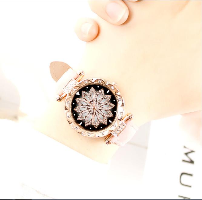 [MIỄN PHÍ GIAO HÀNG] Đồng hồ nữ dây da mặt hoa viền đính đá kim sa chính hiệu CVTR, tặng hộp và pin dự phòng, bảo hành 2 năm - MAT-HOA 7