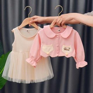 SET VÁY  2 chi tiết áo khoác ngoài kèm váy Tay Dài Cho Bé Gái (9-22KG)  kèm ảnh thật