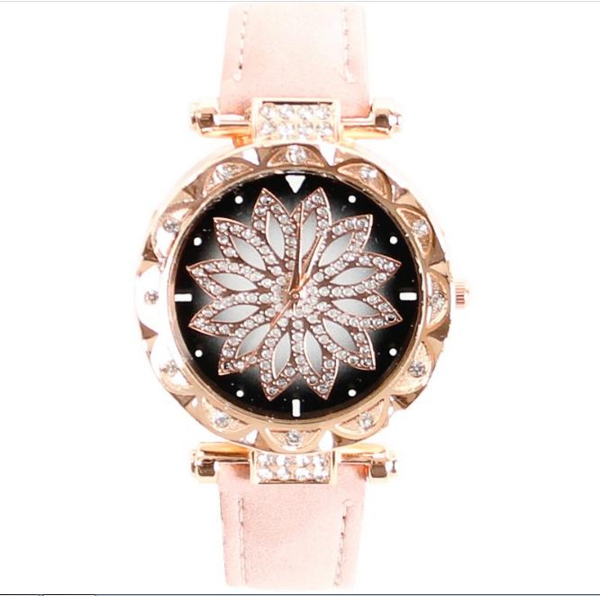 [MIỄN PHÍ GIAO HÀNG] Đồng hồ nữ dây da mặt hoa viền đính đá kim sa chính hiệu CVTR, tặng hộp và pin dự phòng, bảo hành 2 năm - MAT-HOA 8