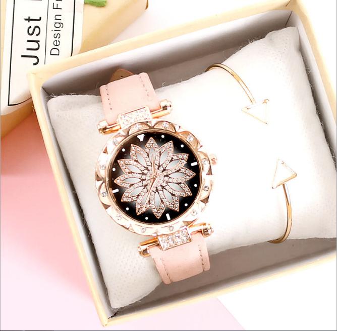[MIỄN PHÍ GIAO HÀNG] Đồng hồ nữ dây da mặt hoa viền đính đá kim sa chính hiệu CVTR, tặng hộp và pin dự phòng, bảo hành 2 năm - MAT-HOA 10