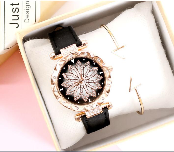 [MIỄN PHÍ GIAO HÀNG] Đồng hồ nữ dây da mặt hoa viền đính đá kim sa chính hiệu CVTR, tặng hộp và pin dự phòng, bảo hành 2 năm - MAT-HOA 2