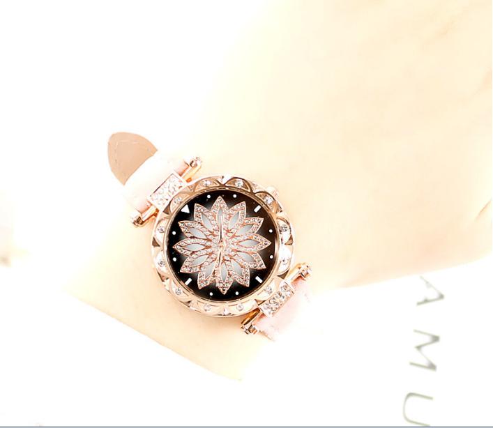 [MIỄN PHÍ GIAO HÀNG] Đồng hồ nữ dây da mặt hoa viền đính đá kim sa chính hiệu CVTR, tặng hộp và pin dự phòng, bảo hành 2 năm - MAT-HOA 9