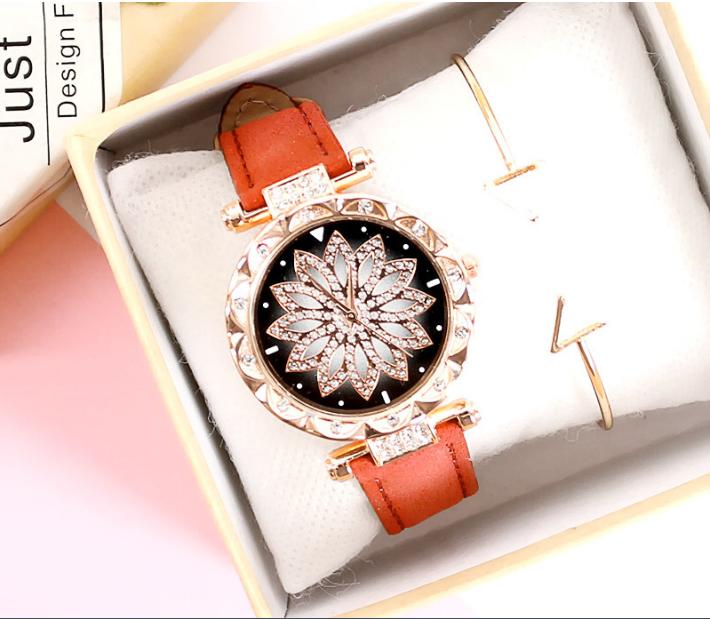 [MIỄN PHÍ GIAO HÀNG] Đồng hồ nữ dây da mặt hoa viền đính đá kim sa chính hiệu CVTR, tặng hộp và pin dự phòng, bảo hành 2 năm - MAT-HOA 5