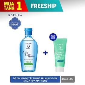 [QUÀ ĐỈNH 0Đ] Nước Tẩy Trang Senka All Clear Water Micellar Formula Fresh 230ml - Tặng Sữa rửa mặt Perfect Whip Acne Care 50g - 95130