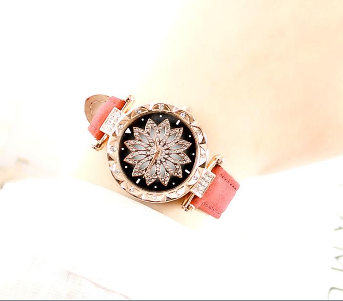 [MIỄN PHÍ GIAO HÀNG] Đồng hồ nữ dây da mặt hoa viền đính đá kim sa chính hiệu CVTR, tặng hộp và pin dự phòng, bảo hành 2 năm - MAT-HOA 6