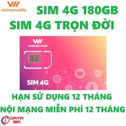 Sim 4G vietnamobile trọn đời 180GB hạn sử dụng 12 tháng