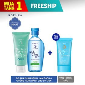 Bộ sản phẩm Senka làm sạch và chống nắng dành cho da mụn - 95156