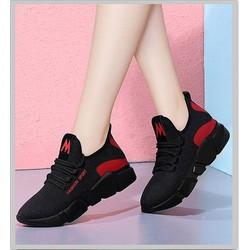 Giày Thể Thao Vải Nữ Màu Đen Đế Vảy Màu Cá Tính