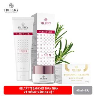 Bộ sản phẩm dưỡng trắng da mặt Truesky gồm 1 kem dưỡng trắng da mặt 15g + 1 gel tẩy tế bào chết mặt 60ml - Scrub + face15g thumbnail