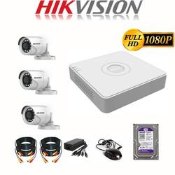 Trọn Bộ Camera giám sát HIKVISION 2.0MP - FHD 1080P Chính Hãng [1-4 Mắt camera] - Đủ phụ Kiện lắp đặt  Ổ cứng 500GB [ĐƯỢC KIỂM HÀNG]