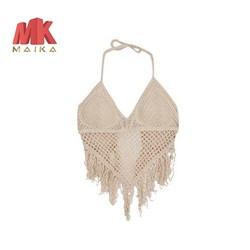 Đồ bơi, đồ đi biển Áo bơi nữ lẻ Áo Lưới Yếm Tua Rua Đi Biển MK MAIKA mẫu mới móc len MKF002 KEM