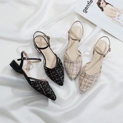 Giày Nữ Gót 3Cm Phong Cách Hàn Quốc Chất Dạ Hot 2019