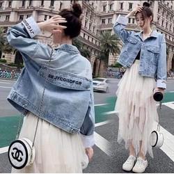 Áo khoác jean nữ có mũ cao cấp - áo khoác nữ chất jean Happy Times - SkyJ-Mashisno dưới 60kg