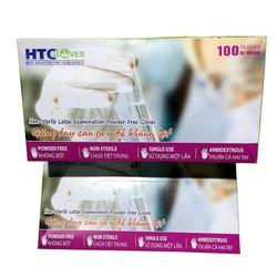 Găng tay y tế không bột HTC cao su Latex 100 cái/hộp.