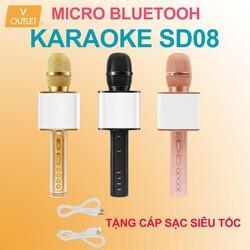 Mic Hát Karaoke Bluetooth Không Dây SD-0 8 - Kèm Loa - Âm vang - Ấm - Tặng 1 dây sạc nhanh 25K - mic hát karaoke cầm tay mini - micro hát trên xe hơi - mic hát karaoke hay nhất hiện nay.