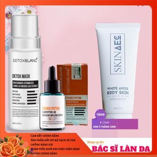 Bộ trị nám tàn nhang trắng da Detox Blanc Detox mask+serum esence peptide tặng 1 ủ kích trắng skin aec 150ml - COMBONAMTANGUKICH150ML thumbnail