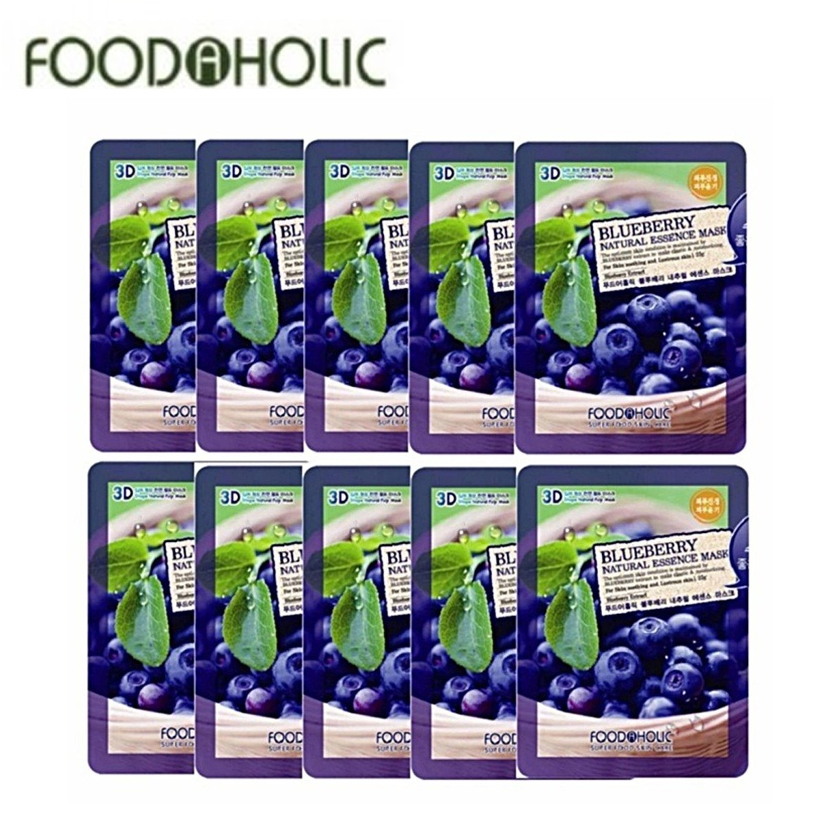 COMBO 10 MIẾNG MẶT NẠ VIỆT QUẤT BLUEBERRY NATURAL ESSENCE MASK 3D FOODAHOLIC