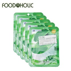 COMBO 10 MIẾNG MẶT NẠ NHA ĐAM ALOE NATURAL ESSENCE MASK 3D FOODAHOLIC
