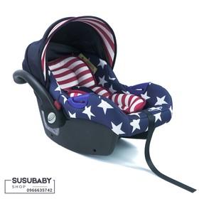 Nôi xách kiêm ghế ngồi ô tô GLuck Baby Zy07 màu cờ mỹ - ZY07USA