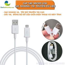 Cáp sạc Micro USB Sạc Nhanh 3A, Dài 1m, truyền dữ liệu - Shop Thế Giới Điện Máy