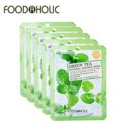 COMBO 10 MIẾNG MẶT NẠ TRÀ XANH GREEN TEA NATURAL ESSENCE MASK 3D FOODAHOLIC