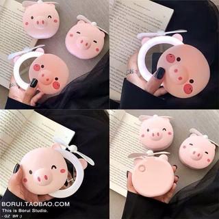 TUYEN CTV_HANGHOTREND_Gương quạt mini usb lợn hồng siêu cute 3in1 - mkm thumbnail