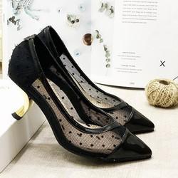 (Bảo hành 12 tháng) Giày cao gót nữ phối lưới chấm bi gót vàng kiểu thời trang – Giày nữ gót cao 5cm – Giày nữ da Nhung mềm phối Lưới 2 màu Đen và Hồng Da – Linus LN222