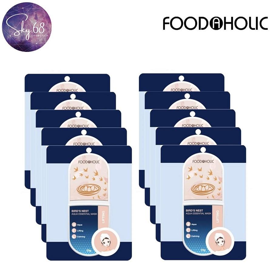 Hộp 10 Mặt Nạ Cấp Nước Dưỡng Sáng, Tăng Độ Đàn Hồi Săn Chắc Da Foodaholic Bird's Nest Aqua Essential Mask 23g x 10