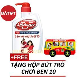 Sữa tắm kháng khuẩn Lifebuoy chai 850g tặng HỘP BÚT BEN 10 - STLBC850