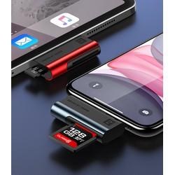 Đầu đọc thẻ nhớ cho iPhone, iPad cổng Lightning USAMS US-SJ430 (Đọc thẻ SD Card, TF)