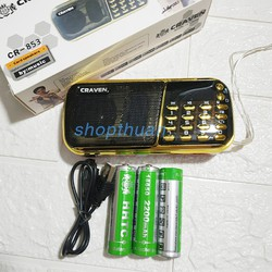 Loa Nghe Nhạc Thẻ Nhớ USB Craven CR 853 – 3 Pin Sạc, Nghe Thẻ Nhớ, USB, 2 Khe Cắm Thẻ Nhớ