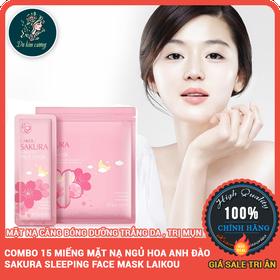 Bộ 15 Miếng Mặt Nạ Ngủ Hoa Anh Đào Sakura Sleeping Face Mask Laikou - bo15miengmatnasakura