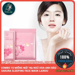 Bộ 15 Miếng Mặt Nạ Ngủ Hoa Anh Đào Sakura Sleeping Face Mask Laikou - bo15miengmatnasakura thumbnail