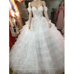 áo cưới tay ngang trắng dập ly dịu dàng xinh tiểu thư giá mềm