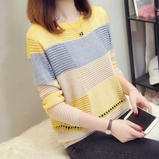 Áo len nữ đẹp phối màu dịu dàng - áo len phối màu thumbnail