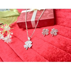 Set trang sức bạc ta cỏ 4 lá may mắn