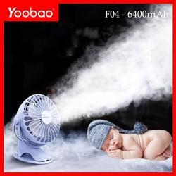 Quạt sạc mini xoay góc 720 độ, đế kẹp đa năng hoặc đặt bàn, an toàn cho trẻ với 4 nấc điều chỉnh gió (6400mAh) YOOBAO F04